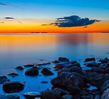 Sunset Over Sister Bay by Kenneth Keifer