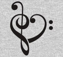 MUSIC HEART, Love, Music, Bass Clef, Treble Clef, Classic, Dance, Electro Kids Clothes