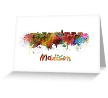 Madison skyline in watercolor Greeting Card
