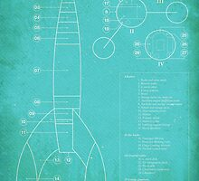 Tintin Moon Rocket Blue Print by PSGCreative