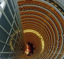 Internal View Of The Jin Mao Tower From 88th Floor. Pudong, Shanghai, China. by Ralph de Zilva