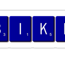 Bike Scrabble (Blue) Sticker