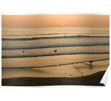 Crowded Californian Surfing Sunset - Pacific Beach, San Diego Poster