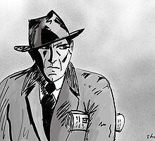 Film Noir Character with Hat, Coat and Paper on a Grey Day by ibadishi