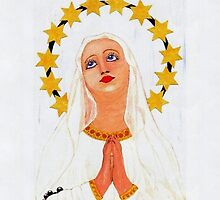 My acrylic painting of Our Lady of Lourdes in Gibraltar by Dennis Melling