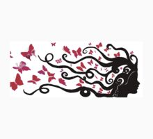 female black silhouette with pink butterflies Kids Clothes