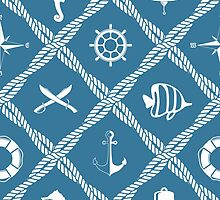 Nautical rope knot pattern with sea objects by Marta Jonina