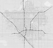 Fresno, USA Map. (Black on white) by Graphical-Maps