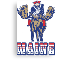 MAINE - Patriot on Mooseback - New England Patriots Canvas Print