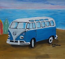 The Vw blue Volkswagen Bulli surfbus  by artshop77
