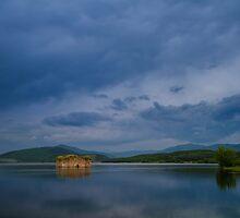 Church in lake at sunset  by jordanrusev