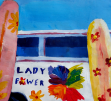 Surf Bus Series - The Lady Flower Power VW Bus Sticker