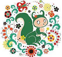 Russian FOLK  Green Squirrel. Photographic Print