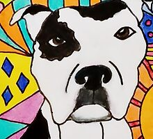 White Spotted Pit Bull by Carol Hamby