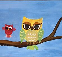owl family on a tree  by artshop77