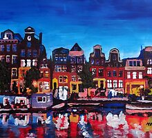 Amsterdam Skyline With Canal At Night by artshop77