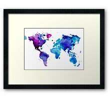 Watercolor Map of the World (t-shirt) Framed Print