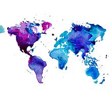 Watercolor Map of the World (t-shirt) Photographic Print