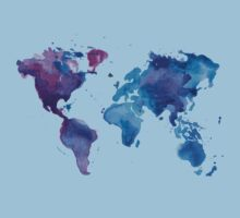 Watercolor Map of the World (t-shirt) Kids Clothes