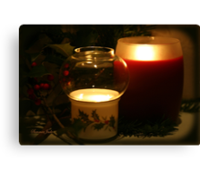 Holly Leaves and Candles All Aglow Canvas Print