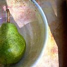 Pear in an Old Pottery Bowl by LouiseK