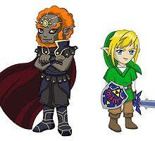 Legend of Zelda - Ganondorf and Link stickers by littlebearart