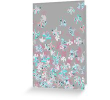 Flight - abstract in pink, grey, white & aqua Greeting Card