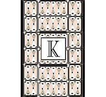 1920s Pink Champagne Gatsby Monogram letter K Photographic Print