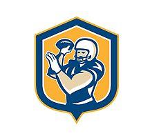 American Football QB Throwing Shield Retro by patrimonio