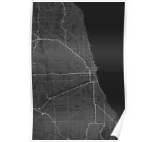 Chicago, USA Map. (White on black) Poster