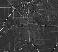 Fort Wayne, USA Map. (White on black) by Graphical-Maps