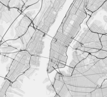 New York, USA Map. (Black on white) Sticker