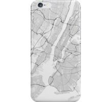 New York, USA Map. (Black on white) iPhone Case/Skin