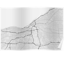 Cleveland, USA Map. (Black on white) Poster