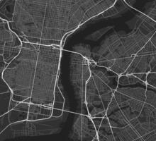 Philadelphia, USA Map. (White on black) Sticker