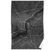 Philadelphia, USA Map. (White on black) Poster