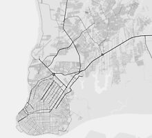 Belem, Brazil Map. (Black on white) by Graphical-Maps