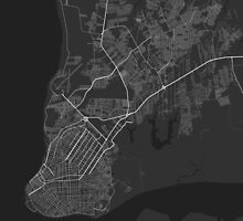 Belem, Brazil Map. (White on black) by Graphical-Maps