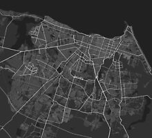 Fortaleza, Brazil Map. (White on black) by Graphical-Maps