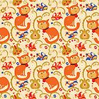 RED cat BLUE bird pattern. by Kimazo