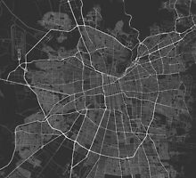 Santiago, Chile Map. (White on black) by Graphical-Maps