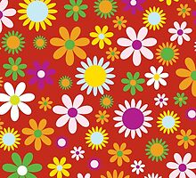 Blooming Flowers and Petals - Red Green Orange by sitnica