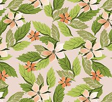 Blooming Flowers, Petals, Leaves - Green Orange by sitnica