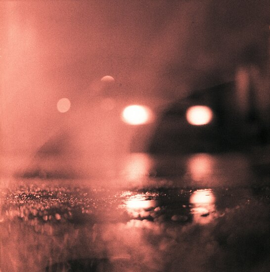 Truck Headlights In Rain : Quot analog photo of tarmac street at night with car
