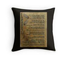"""""""Live Your Life""""  on old parchment, Chief Tecumseh Throw Pillow"""