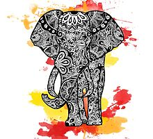 Tribal Elephant- Red Orange by Tiffany Taimoorazy