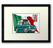 Fiat 126 caricature turquoise Framed Print