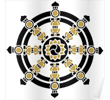 Dharma Wheel of Fortune, Buddhism, Auspicious Symbol Poster