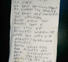 Death Grips Goodbye Note by Haydenb28