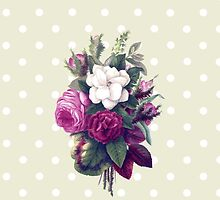 Roses, Flowers, Blooms, Leaves - Pink Green White by sitnica